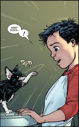 Damian's love of cats is born! - Batman Incorporated #6