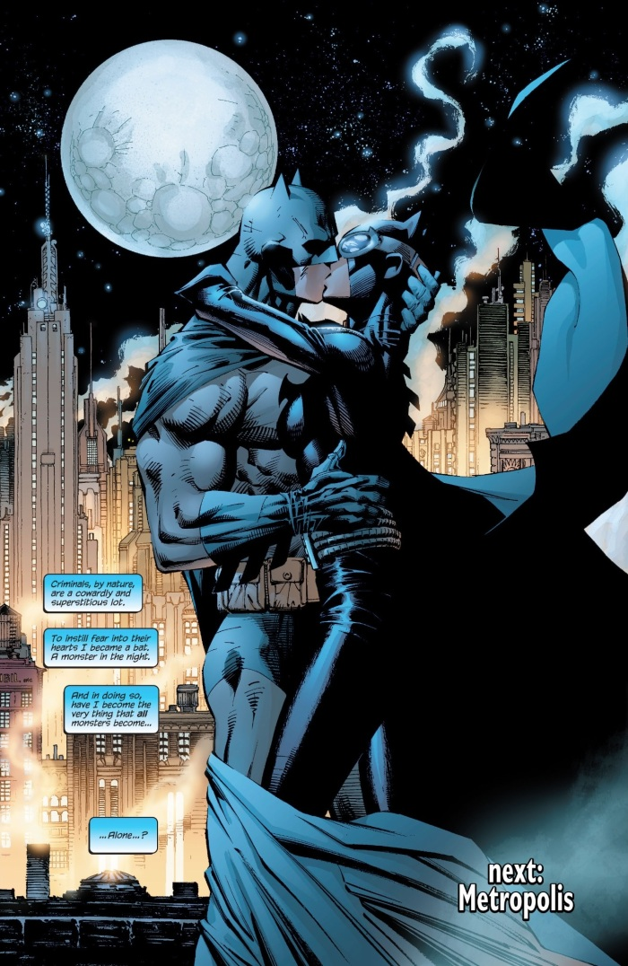 Batman and Catwoman sitting in a tree K.I.S.S.I.....