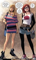 Gwen and MJ looking super cool and trendy.