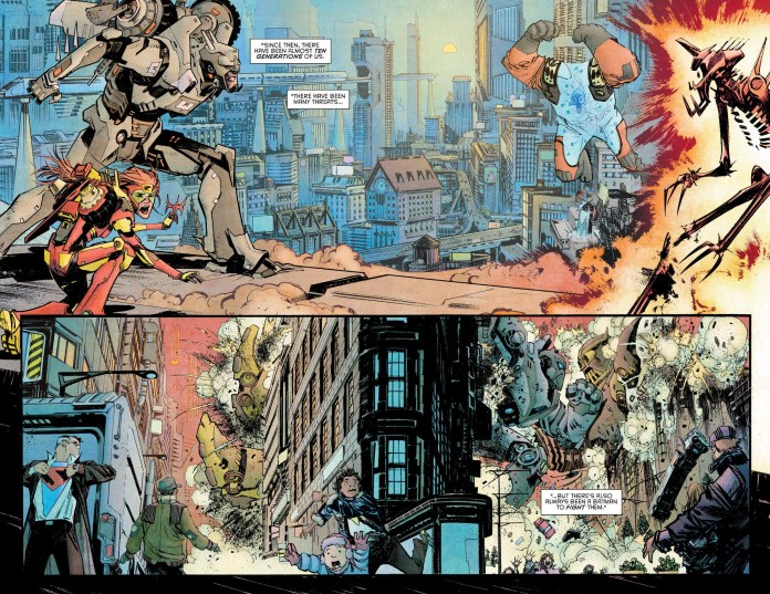 Love old man Superman getting ready to jump into action in the bottom corner :)